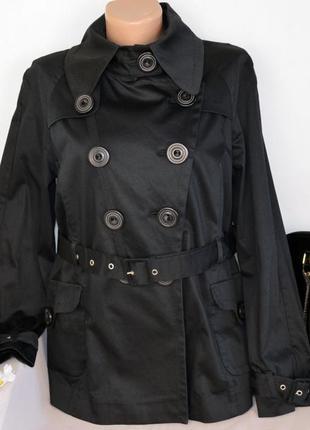Брендовый черный плащ тренч с поясом и карманами next коттон вискоза этикетка