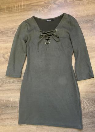 Платье замшевое со шнуровкой