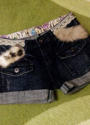 Модные зимние джинсовые шорты с мехом