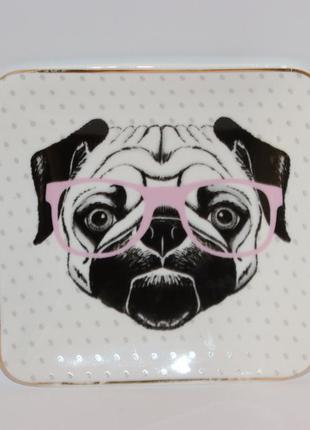 Симпатичная мини вазочка тарелка собака в очках керамика debenhams вес 153,5 грамм винтаж
