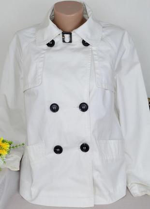 Брендовый укороченный белый тренч куртка с карманами papaya коттон этикетка