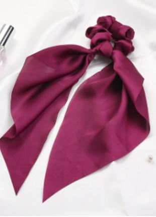 Однотонная резинка-платок бордовая тренд лета 2021 / большая распродажа!