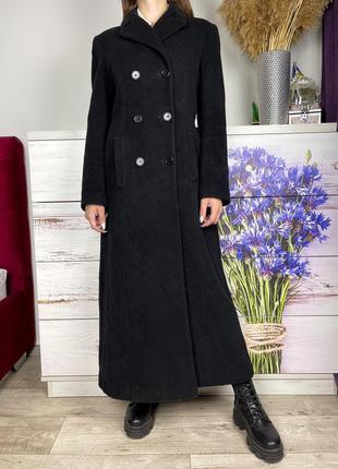 Длинное чёрное шерстяное пальто 1+1=3