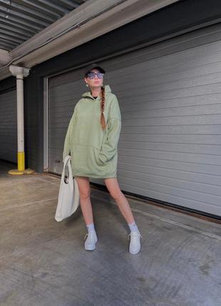 Женское худи с капюшоном удлиненный длинный цвет олива оливковый фисташковый зелёный хаки оверсайз oversize