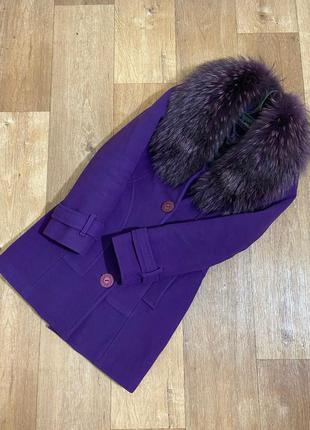 Пальто женское осеннее евро зимнее мех меховой воротник жіноче дубленка