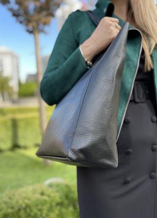 Ультра легкая кожаная сумка шоппер