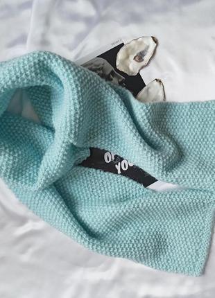Теплий блакитний шарф голубой шарф шерсть акрил 200 см