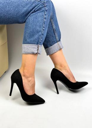 Туфли чёрные замш