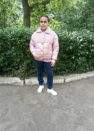 Куртка женская деми комбинированная розовая