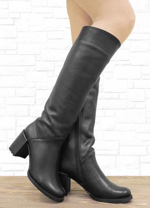 84832 кожаные сапоги на каблуке. черные. 23, 5 см