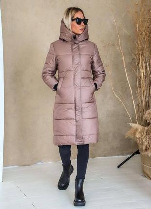 Объёмный зимний пуховик, теплая куртка с капюшоном