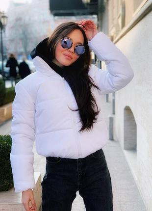 Стильная объёмная дутая куртка с капюшоном