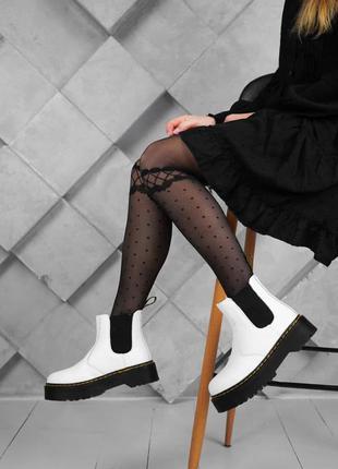 Ботинки dr. martens белые челси на осень / весну женские демисезонные наложенный платеж купить