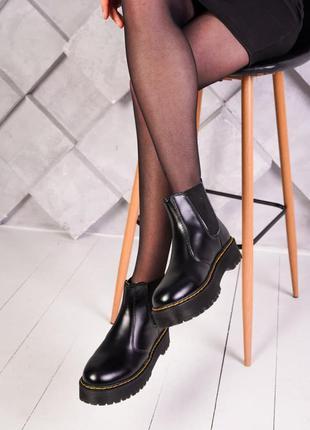 Ботинки dr. martens черные челси на осень / весну женские демисезонные наложенный платеж купить