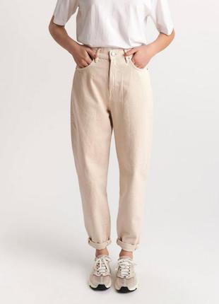 Базовые джинсы мом джинси базові моми момы бежевые джинсы высокая посадка