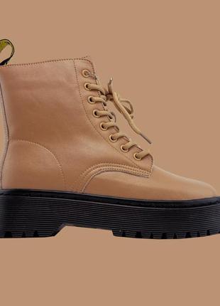Ботинки / сапоги женские dr martens jadon black beige premium (мех)