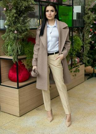 Пальто женское, демисезонное, с поясом, меланж кемел, осеннее, весеннее, 40, 42, 44, 46, 48, 50