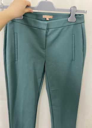 Бирюзовые брюки на высокой талии ,обтягивающие брюки с выточками,новые штаны