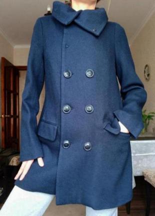 Пальто шерстяное синее двубортное