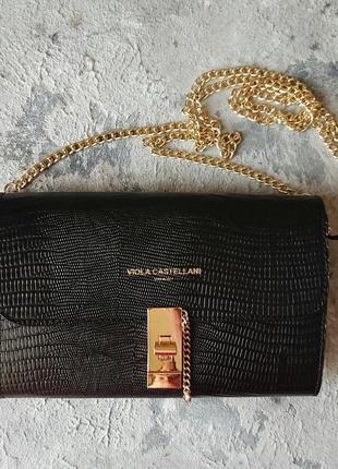 Чёрная кожаная сумка viola castellani, чёрный клатч на цепочке, вечерняя сумочка из натуральной кожи