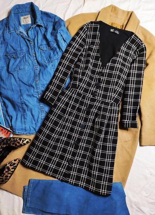 Zara зара платье чёрное белое клетчатое классическое на пуговицах твидовое