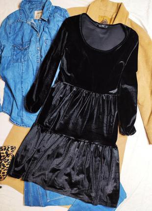 Платье чёрное бордовое велюр велюровое с рукавом трапеция шикарное нарядное праздничное