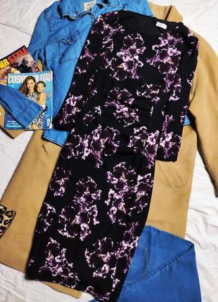 Eastex платье миди чёрное в цветочный принт сиреневое фиолетовое базовое