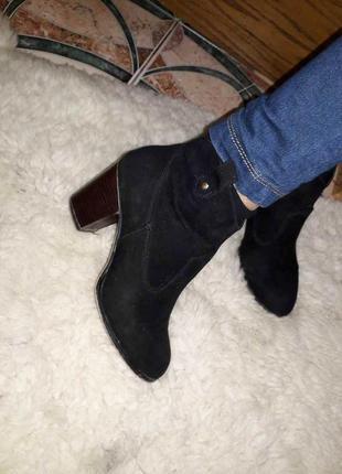 Ботинки черные эко замша