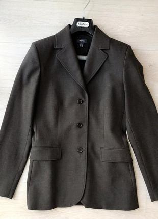 Коричневый серый хаки пиджак mexx трендовый жакет однобортный тренд сезона оверсайз
