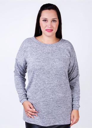 Женская мягкая, меланжевая кофта,блуза