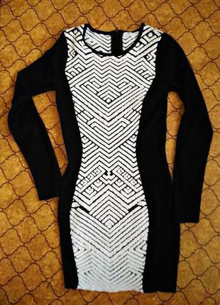 Трикотажное платье с геометрическим принтом glamorous, 💯 оригинал, молниеносная отправка