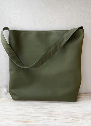 Оливковая сумка шоппер