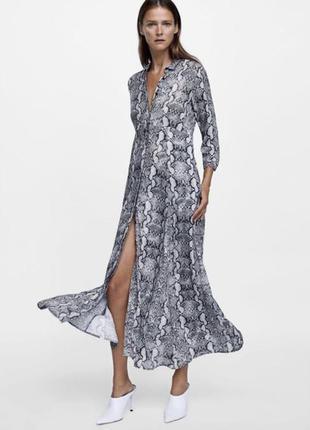 Шикарное платье в пол в змеиный принт zara
