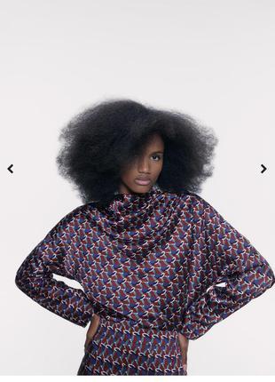 Очень нежная атласная  блуза в принт zara новые коллекции