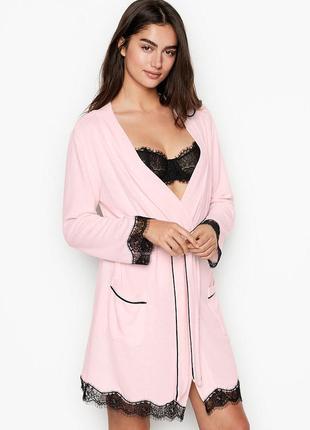 Женский халат короткий с карманами розовый виктория сикрет victoria's secret victoria secret