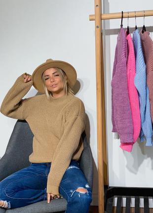 Тёплый свитер, объемный свитер, шерстяной свитер, вязаная кофта, 12 цветов, джемпер, тёплый джемпер, бежевый джемпер