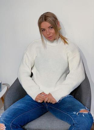 Тёплый свитер, объемный свитер, шерстяной свитер, вязаная кофта, 12 цветов, джемпер, тёплый джемпер, молочный, белый джемпер