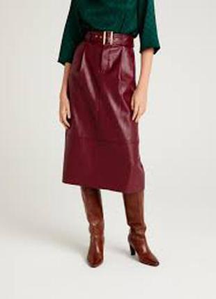 Кожа натуральная юбка миди с защипами