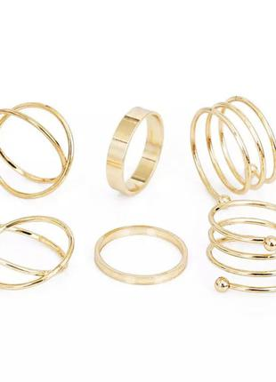 Набор колец под золото, кольцо на палец золотистое