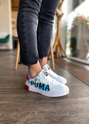 Стильные женские кроссовки демисезонные puma cali белые пума