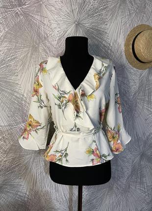 Молочная блуза в цветочный принт ❤ topshop❤