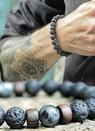 Черный браслет из натурального камня вулканическая лава