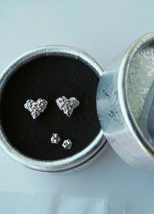 Серебряные серьги-гвоздики 925 сережки пусеты