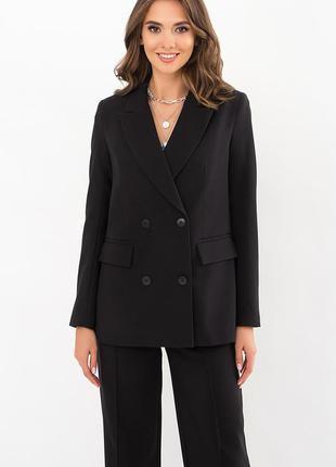 Женский черный двубортный пиджак чорний жіночий піджак