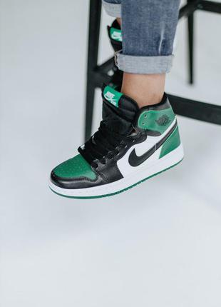 Кроссовки высокие кожаные черные с зеленым air jordan размер 36-40