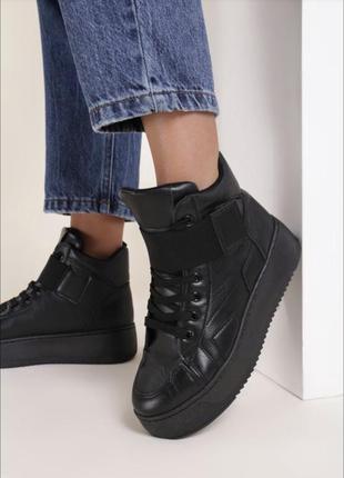 Черные высокие кроссовки на осень🖤
