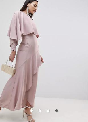 Атласное платье макси с разрезом на юбке asos design