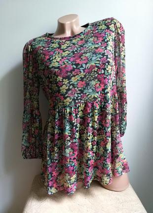 Туника в цветочек. блуза с баской. лонгслив клеш. блуза цветастая.