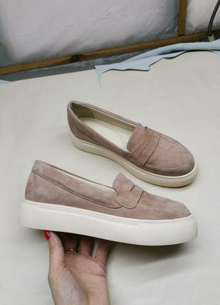 Распродажа! замшевые женские туфли лоферы