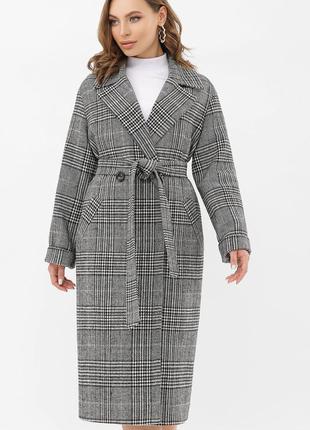 Женское демисезонное шерстяное пальто длинное осеннее в клетку жіноче